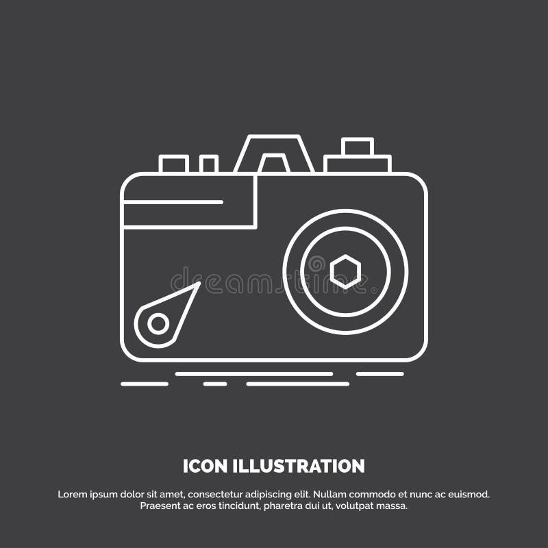 Kamera, fotografia, zdobycz, fotografia, apertury ikona Kreskowy wektorowy symbol dla UI, UX, strona internetowa i wisz?cej ozdob ilustracji