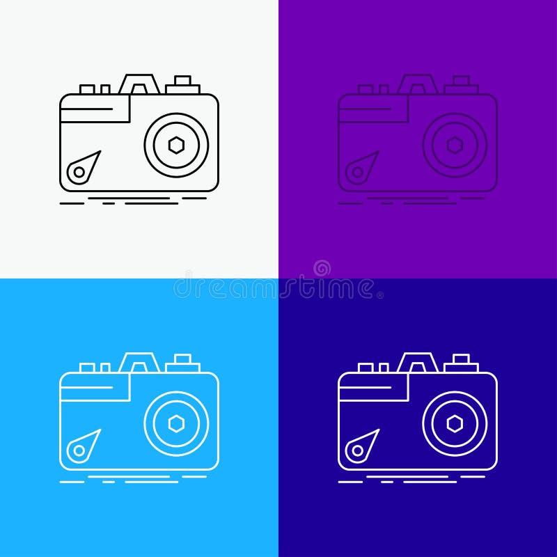 Kamera, fotografia, zdobycz, fotografia, apertury ikona Nad Różnorodnym tłem Kreskowego stylu projekt, projektuj?cy dla sieci i a ilustracji