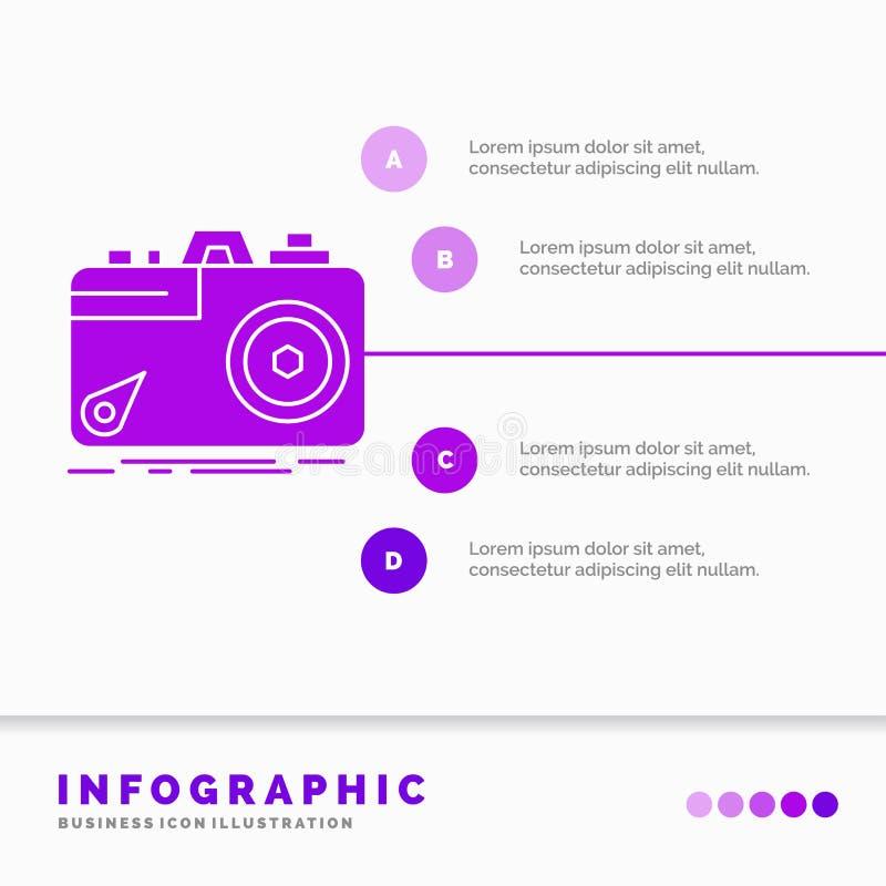 Kamera, fotografia, zdobycz, fotografia, apertury Infographics szablon dla strony internetowej i prezentacja, glif Purpurowa ikon ilustracji