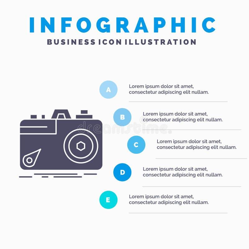 Kamera, fotografia, zdobycz, fotografia, apertury Infographics szablon dla strony internetowej i prezentacja, glif Szara ikona z  ilustracja wektor