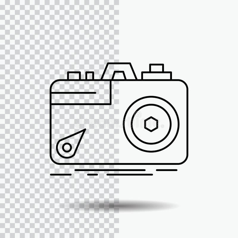 Kamera, fotografia, zdobycz, fotografia, apertury Kreskowa ikona na Przejrzystym tle Czarna ikona wektoru ilustracja ilustracja wektor