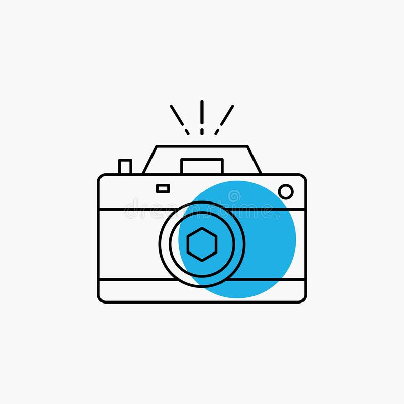 Kamera, fotografia, zdobycz, fotografia, apertury Kreskowa ikona royalty ilustracja