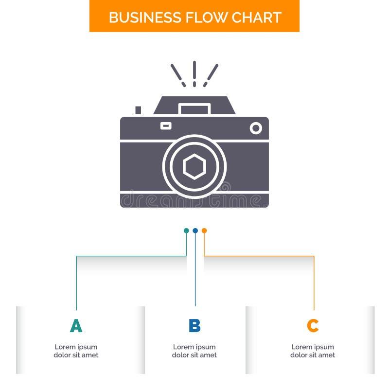 Kamera, fotografia, zdobycz, fotografia, apertury Spływowej mapy Biznesowy projekt z 3 krokami Glif ikona Dla prezentacji t?a royalty ilustracja