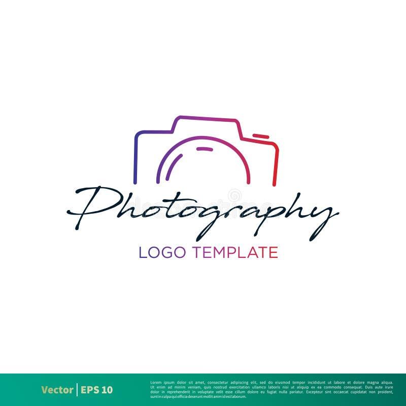 Kamera-Fotografie-Ikonen-Vektor Logo Template Illustration Design Vektor ENV 10 lizenzfreie abbildung