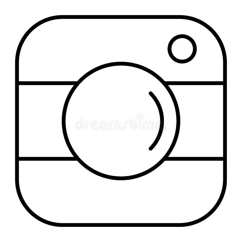 Kamera guzika cienka kreskowa ikona Fotografii ikony ilustracja odizolowywająca na bielu Obiektywu konturu stylu projekt, projekt ilustracja wektor