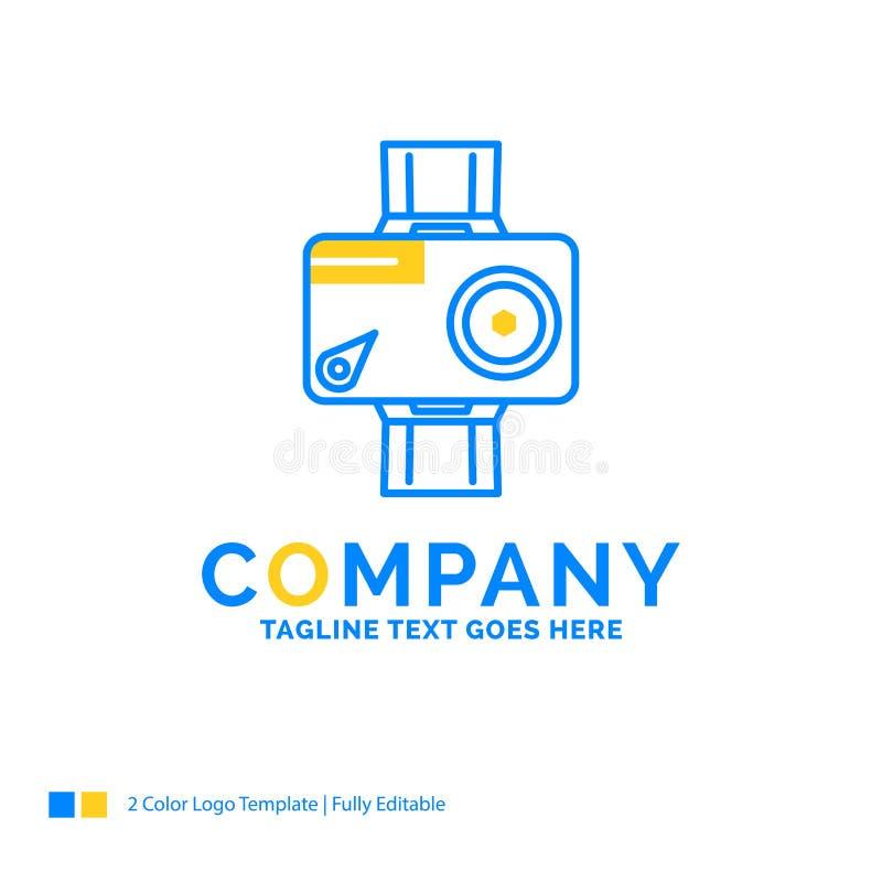 kamera handling, digitalt som är video, blå gul affärslogo för foto royaltyfri illustrationer