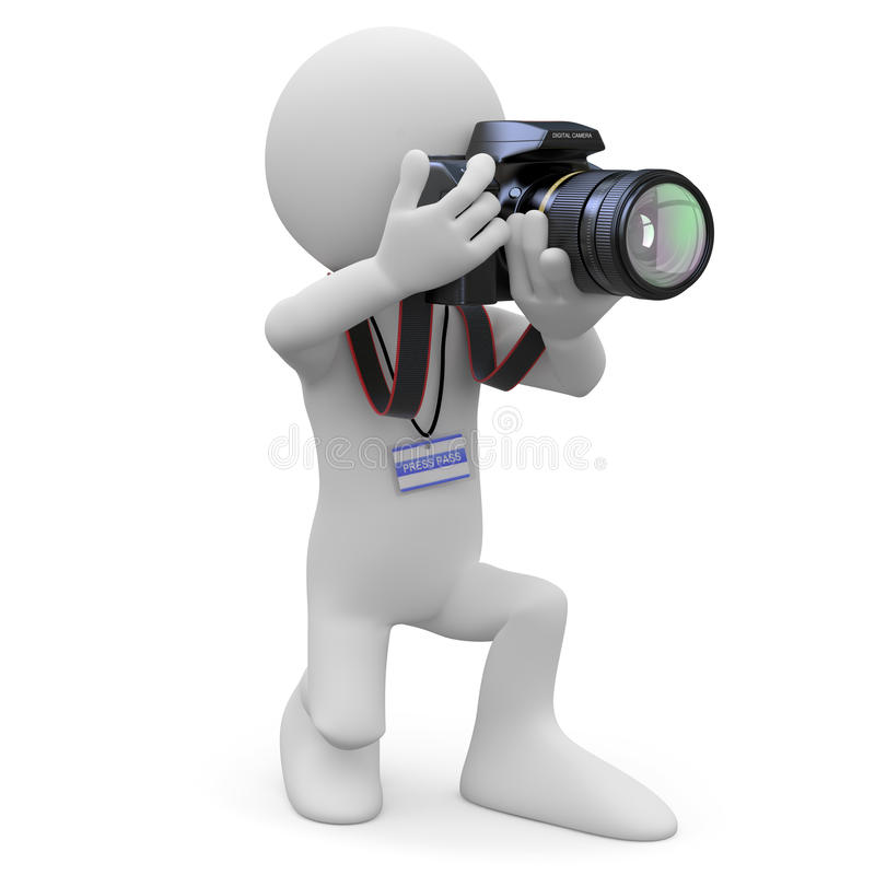 kamera hans knäfalla fotografslr royaltyfri illustrationer