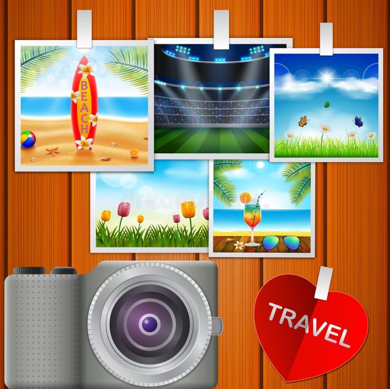 Kamera i obrazki ilustracja wektor