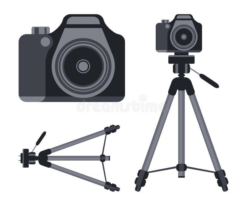 Kamera i tripod Wektorowa ilustracja odizolowywająca na biały tle ilustracji