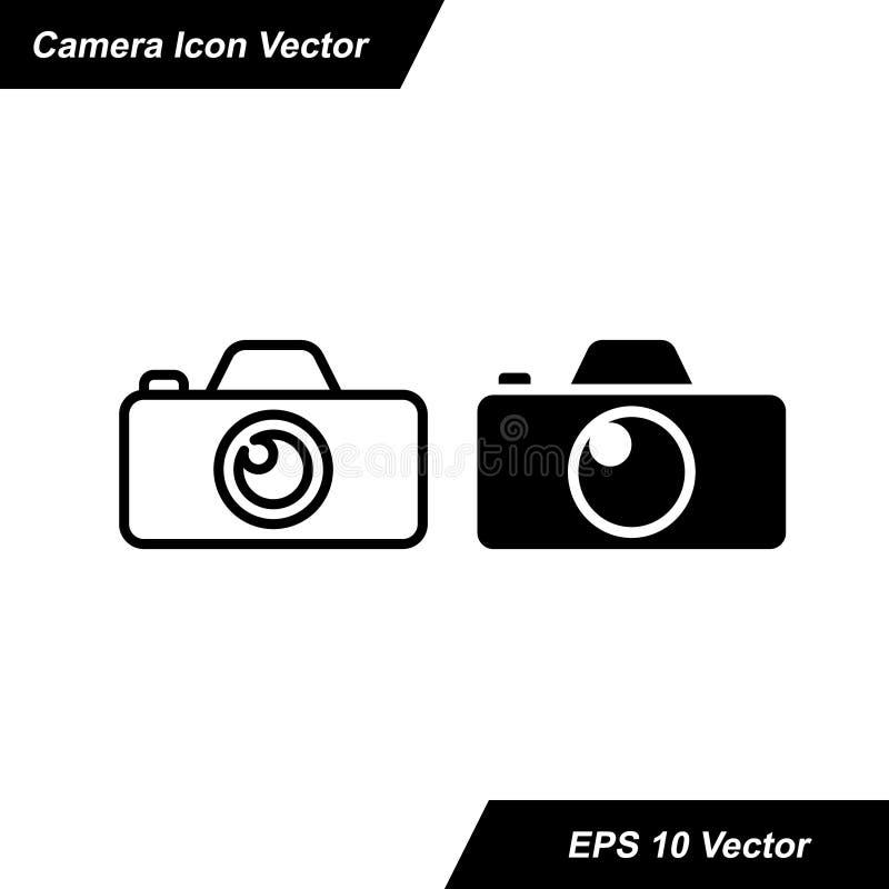 Kamera-Ikone in der modischen flachen Art lokalisiert auf wei?em Hintergrund stock abbildung