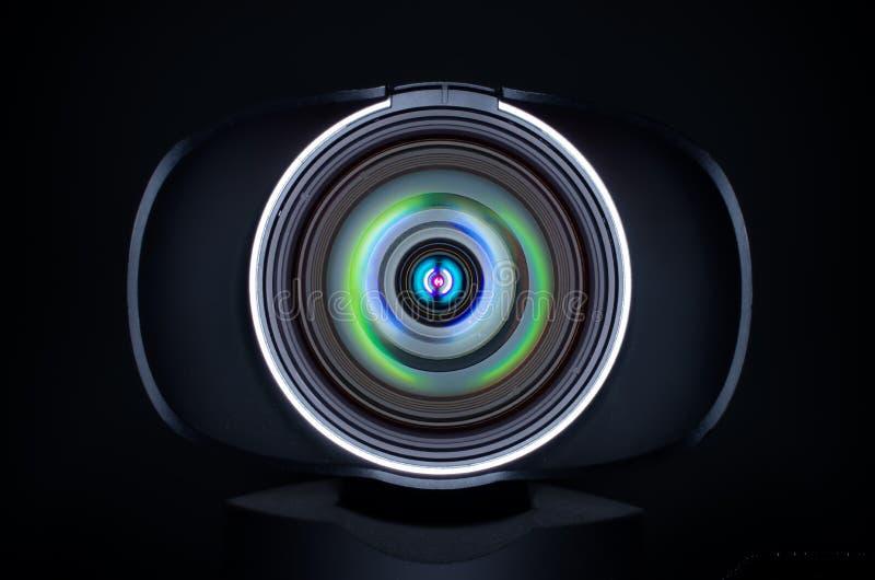 Kamera internetowa obiektyw z coloured odbiciami fotografia stock