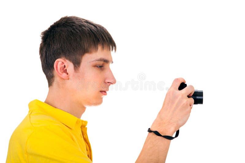 kamera isolerat manwhitebarn royaltyfria foton