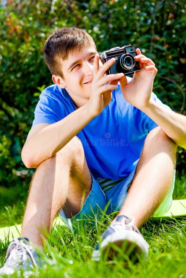 kamera isolerat manwhitebarn royaltyfri fotografi