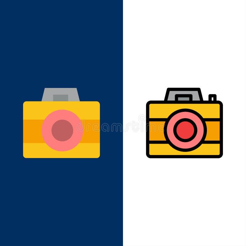 Kamera, komputer, Digital, technologii ikony Mieszkanie i linia Wypełniający ikony Ustalony Wektorowy Błękitny tło royalty ilustracja