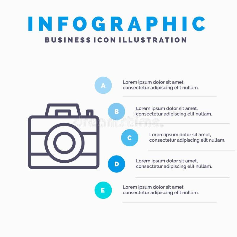 Kamera, komputer, Digital, technologii Kreskowa ikona z 5 kroków prezentacji infographics tłem royalty ilustracja