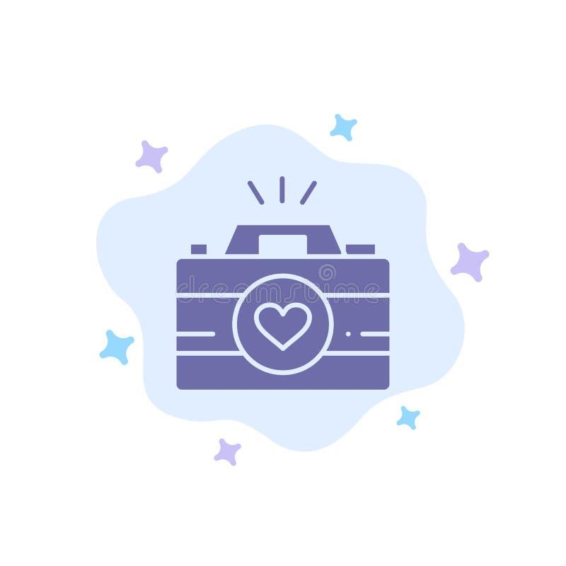 Kamera, krzywka, gra wideo, wizerunki, pary fotografii Błękitna ikona na abstrakt chmury tle royalty ilustracja