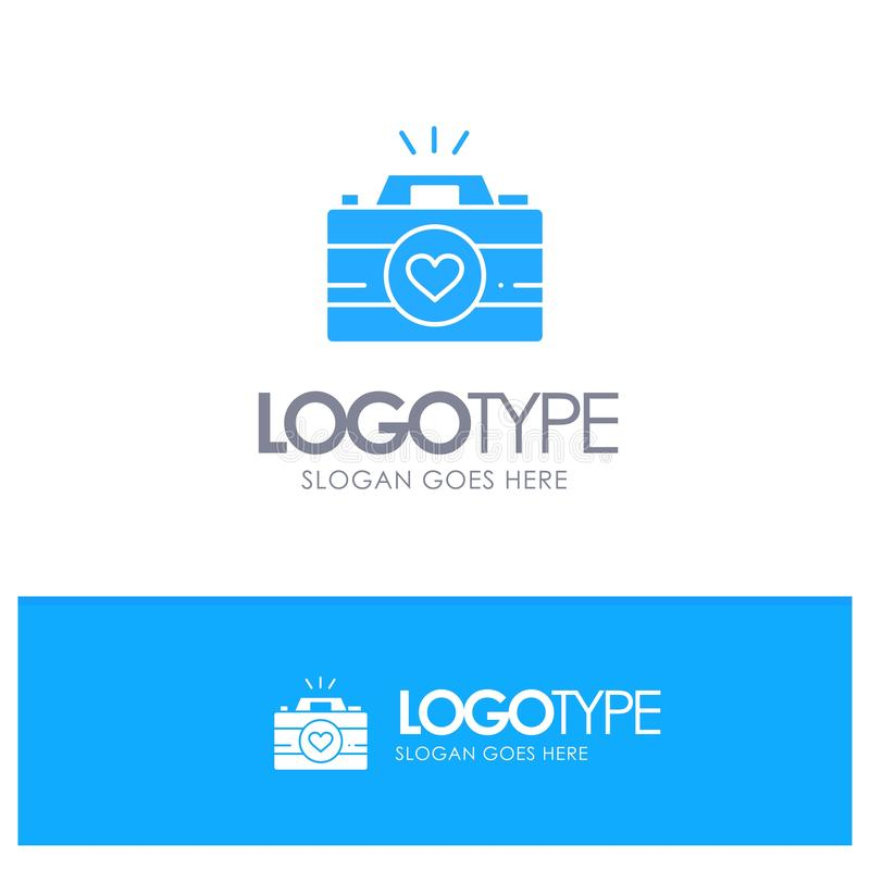 Kamera, krzywka, gra wideo, wizerunki, pary fotografii Błękitny Stały logo z miejscem dla tagline ilustracji