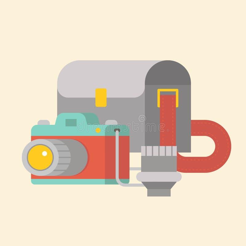 Kamera-, lins- och kamerapåse, plan design vektor illustrationer