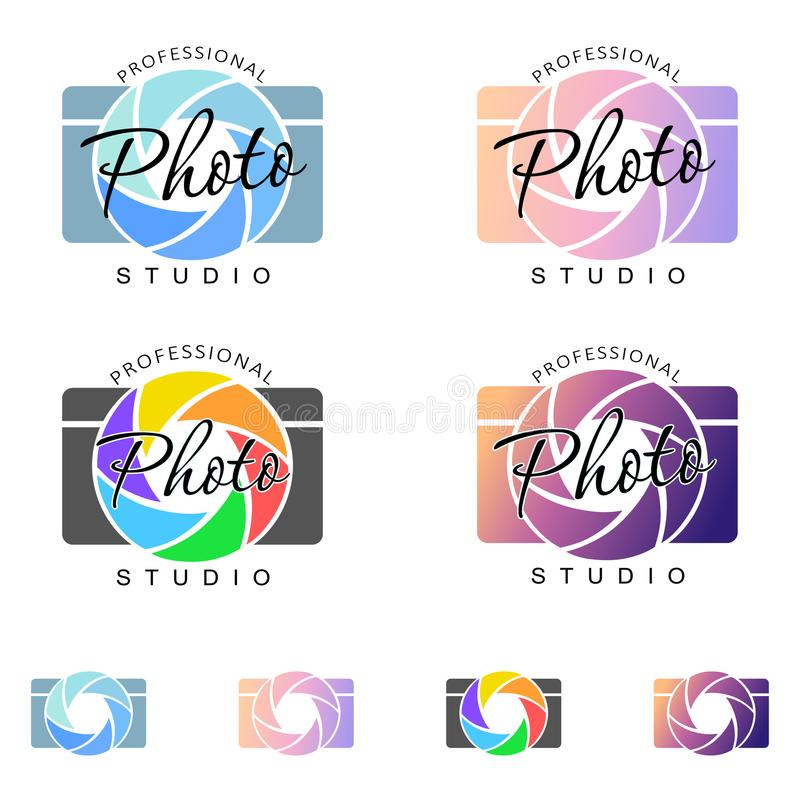 Kamera logo, koloru wizerunek ilustracji