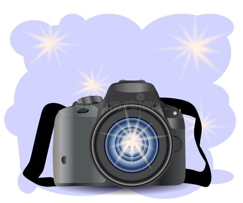 KAMERA med fotosymbolen, fotografi, digital fotokamera med bildsymbol, fotografutrustning royaltyfri illustrationer