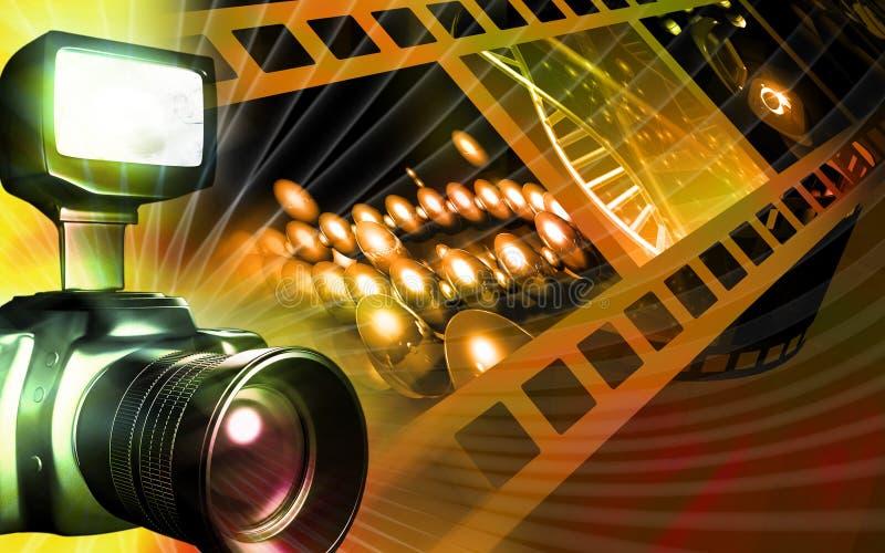 Kamera mit dem Taschenlampeblinken stock abbildung