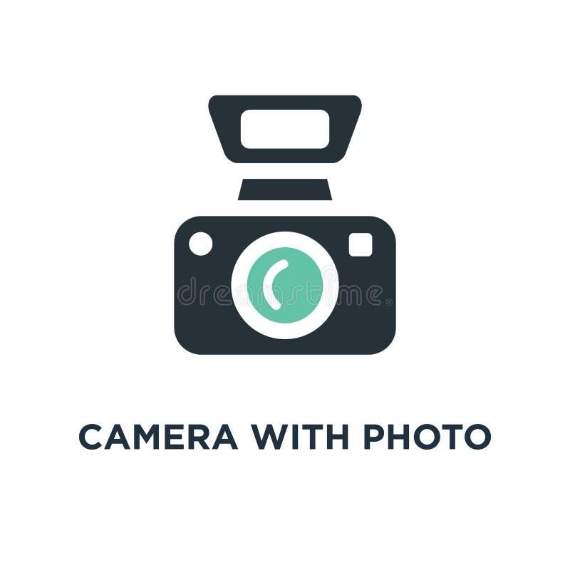 Kamera mit Foto-Ikone Fotografiekonzept-Symbolentwurf, digitale Fotokamera mit Bild, Fotografausrüstungsvektor lizenzfreie abbildung