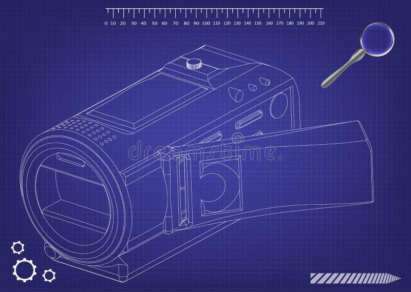Kamera na błękicie ilustracji