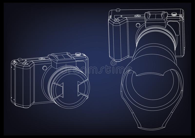 Kamera na błękicie ilustracja wektor