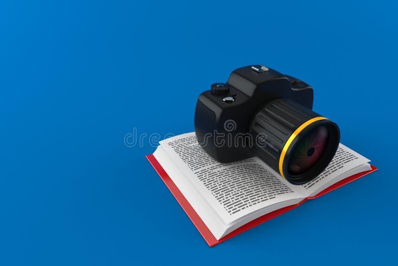 Kamera na otwartej książce ilustracja wektor