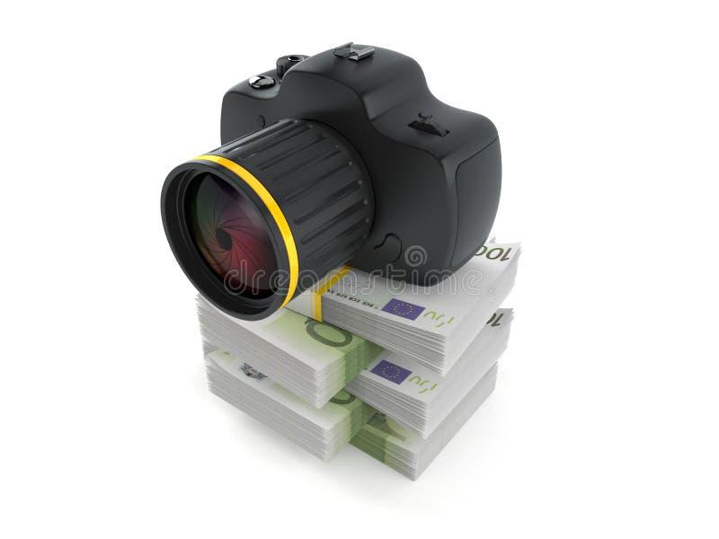 Kamera na stercie pieniądze ilustracja wektor