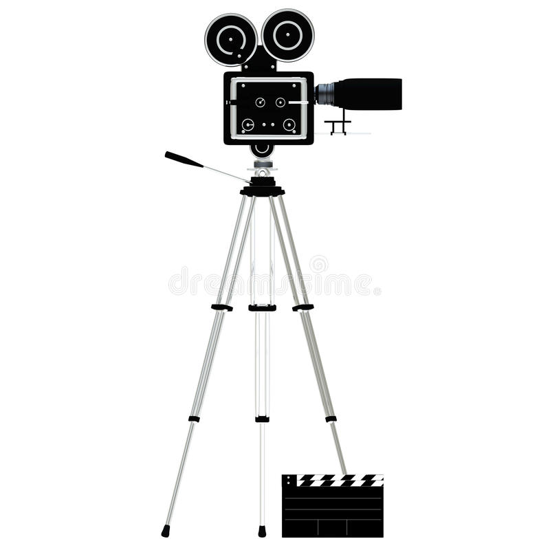 kamera nad tripod biel ilustracja wektor