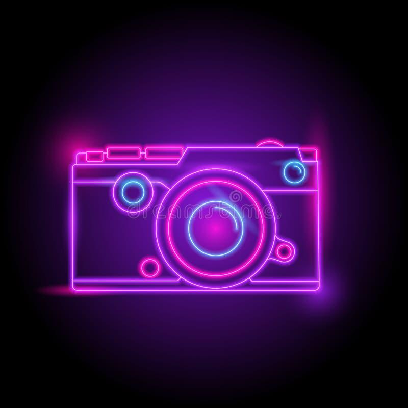 Kamera neonowy logo Łuna w zmroku elektryczny tematu sezon partyjny noc klub royalty ilustracja
