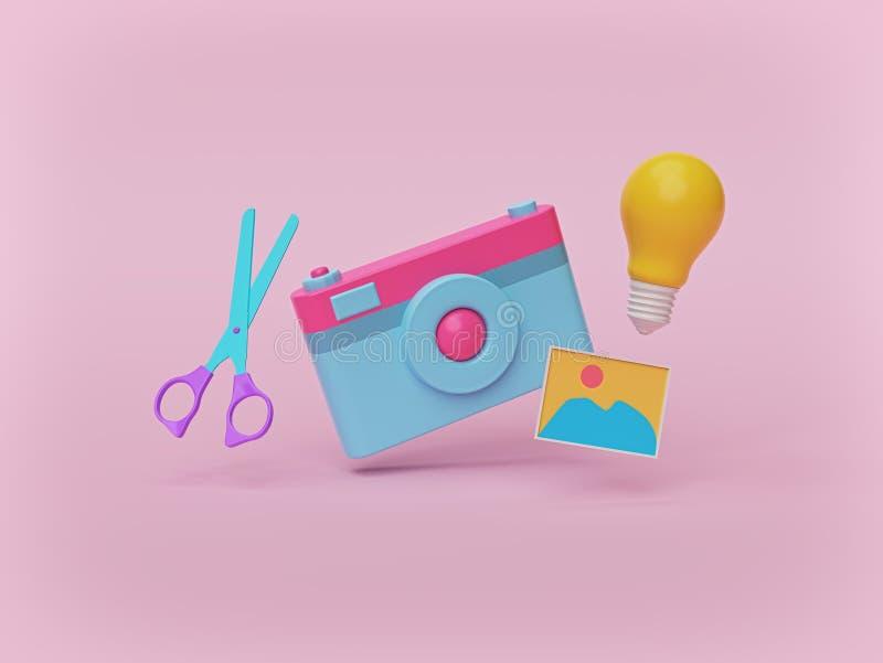 Kamera, nożyce, fotografia i żarówka odizolowywający na pastelowych menchii tle, fotografia pomysłów pojęcie ?wiadczenia 3 d royalty ilustracja