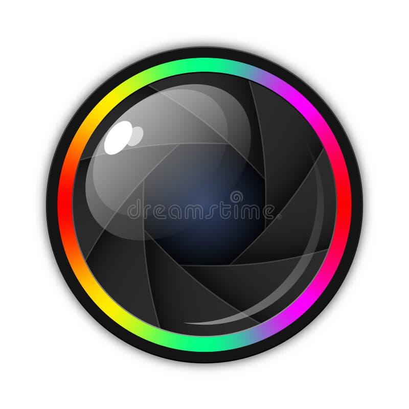Kamera obiektyw, apertura lub żaluzji ikona, Wektorowy ilustracyjny bia?y t?o ilustracji
