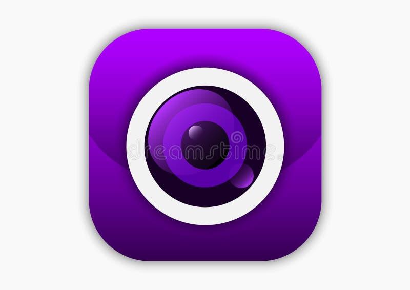 Kamera obiektywu ikony mobilne purpury royalty ilustracja