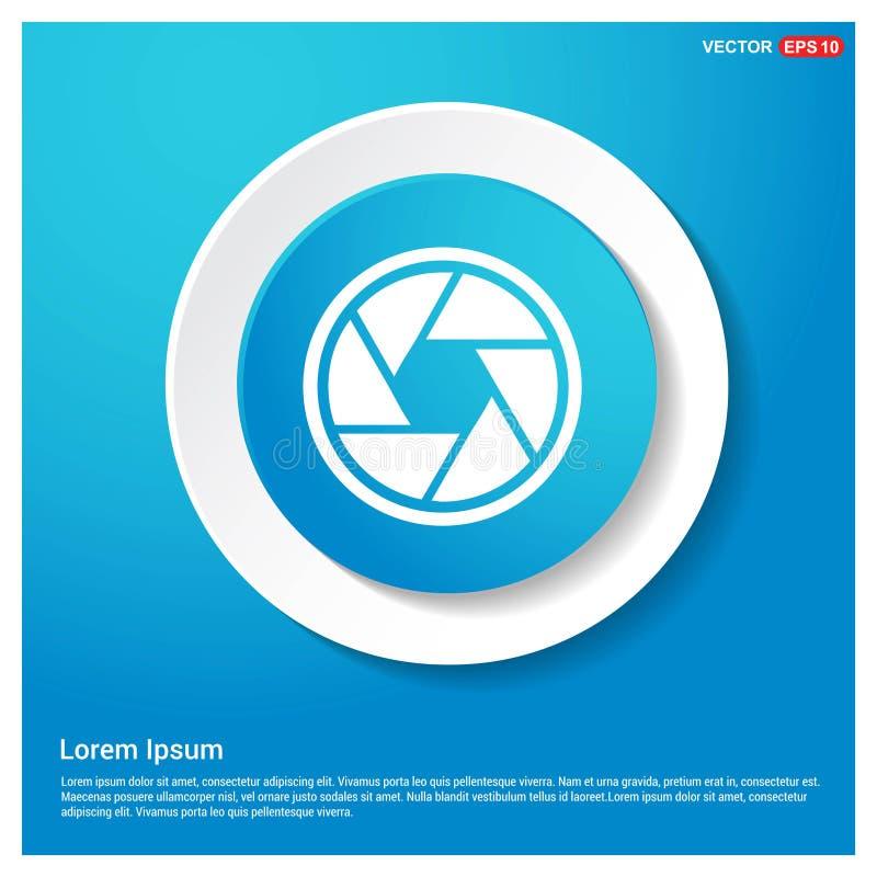 Kamera obiektywu ikony sieci majcheru Abstrakcjonistyczny Błękitny guzik royalty ilustracja