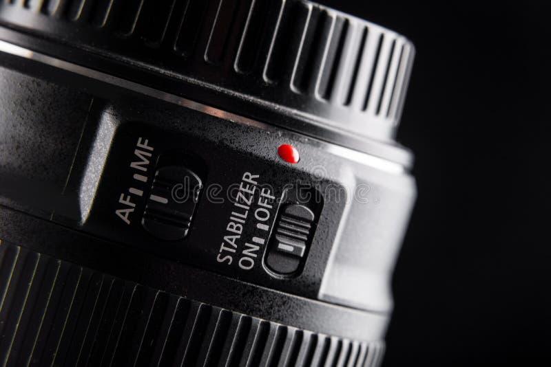 Kamera obiektywu położenia, wizerunku stabilizator i ostrość, czerwony kropka obiektyw zdjęcia royalty free