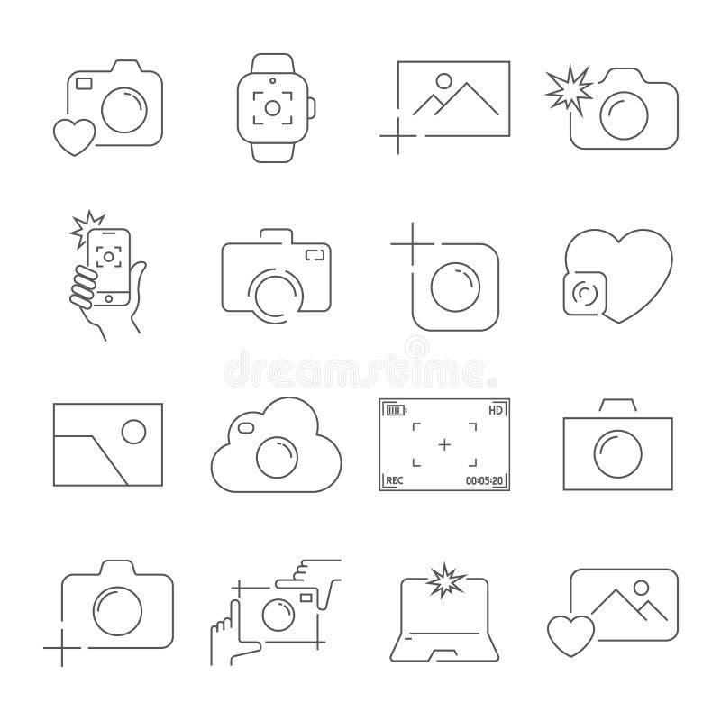 Kamera- och fotografisymbolsupps?ttning ?versiktsvektorsymboler Redigerbar slagl?ngd royaltyfri illustrationer