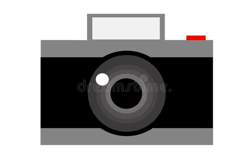 Kamera och lins Isolerat anmärka stock illustrationer