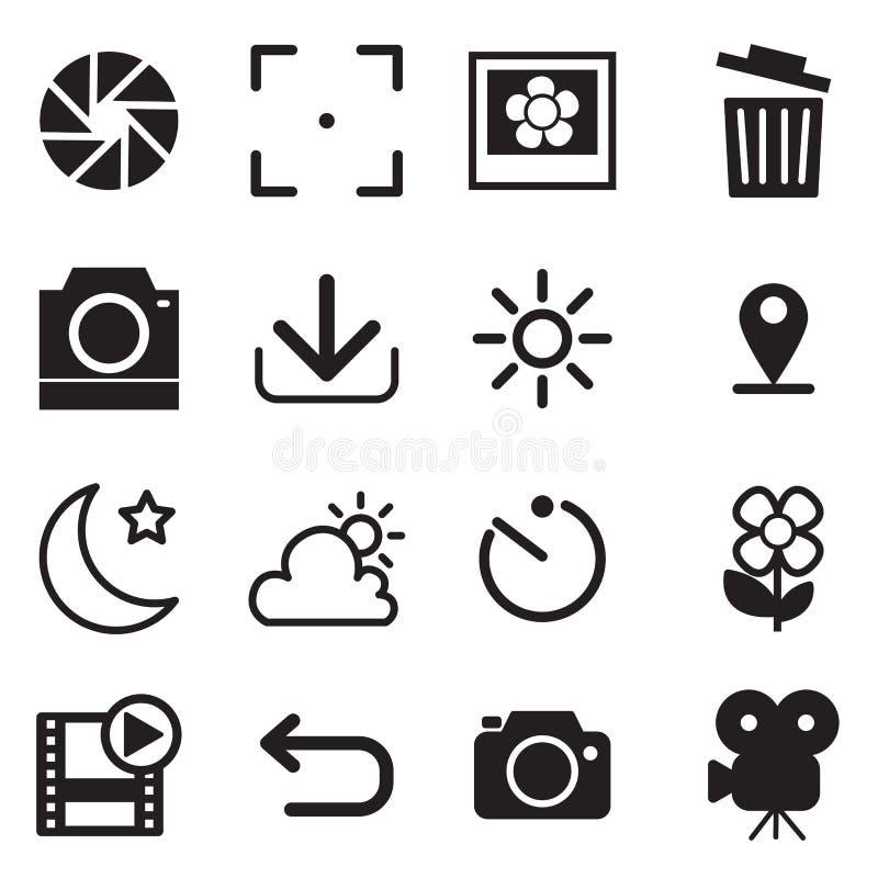 Kamera- och menysymboler stock illustrationer