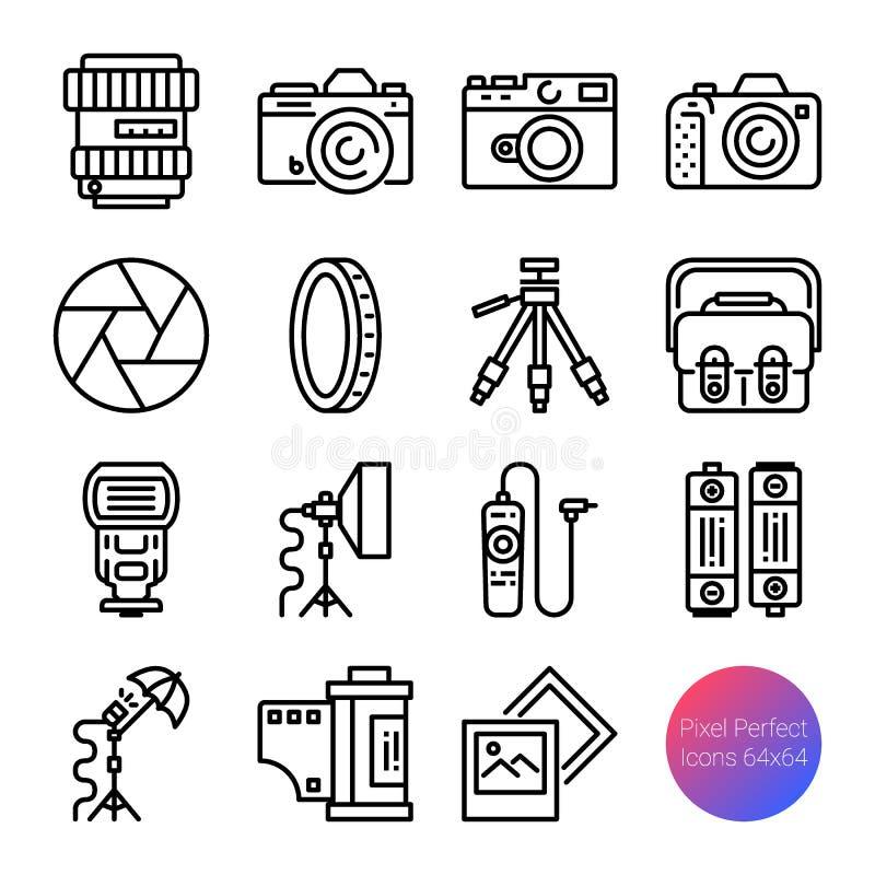Kamera- och utrustningöversiktssymboler royaltyfri illustrationer