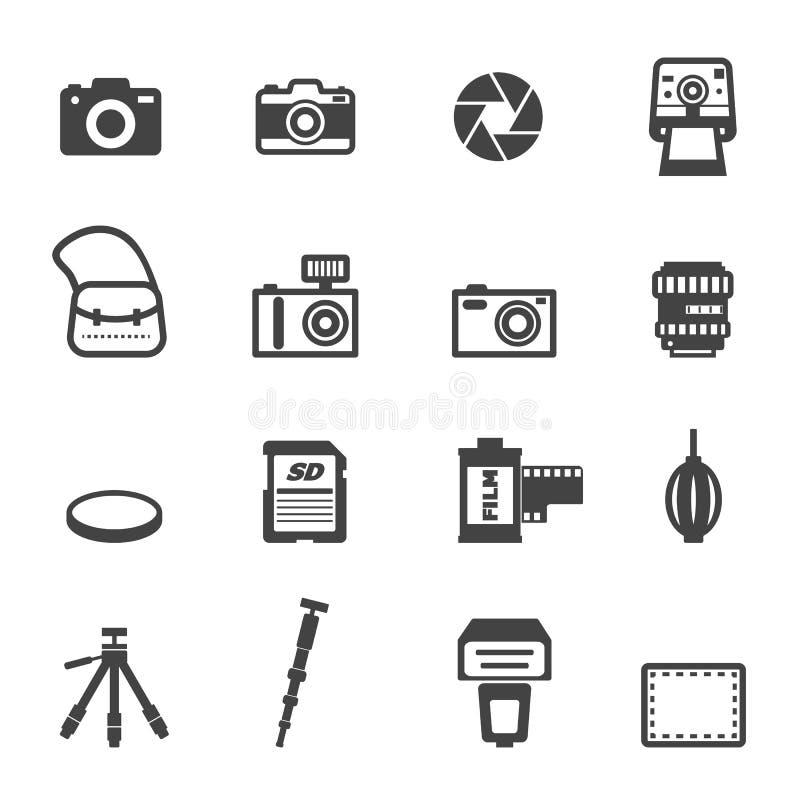 Kamera- och utrustningsymboler stock illustrationer