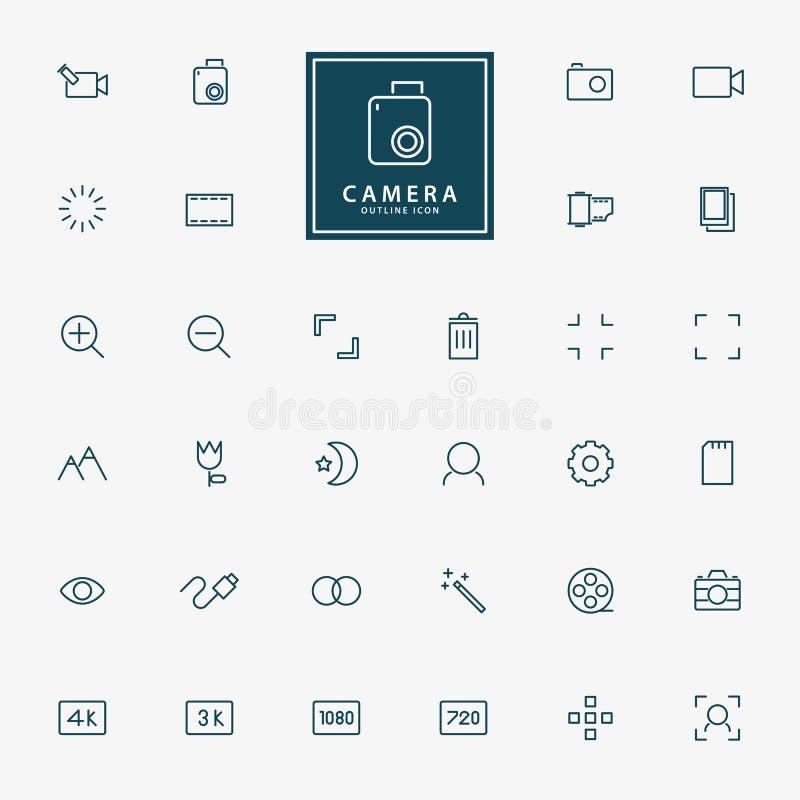 kamera 32 och video minsta linje symboler royaltyfri illustrationer