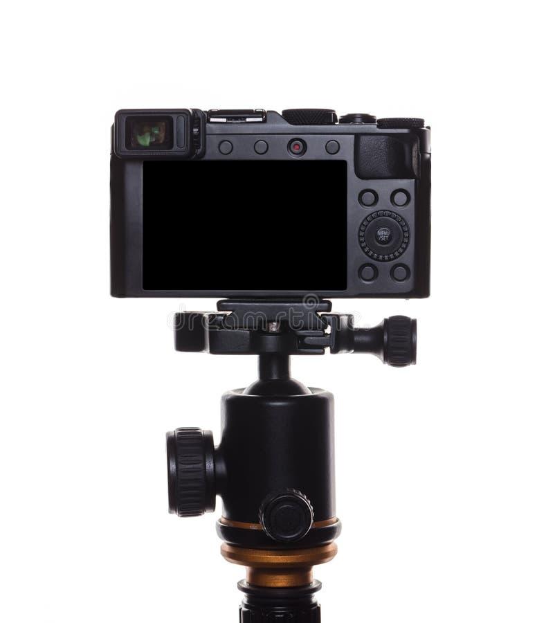 Kamera på en tripod fotografering för bildbyråer