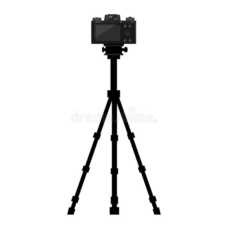 Kamera på stativ med skärmvisning på baksidan Vektorillustration stock illustrationer