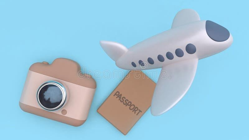 Kamera paszporta samolotu latającej kreskówki tła 3d renderingu podróży minimalny stylowy błękitny pojęcie royalty ilustracja
