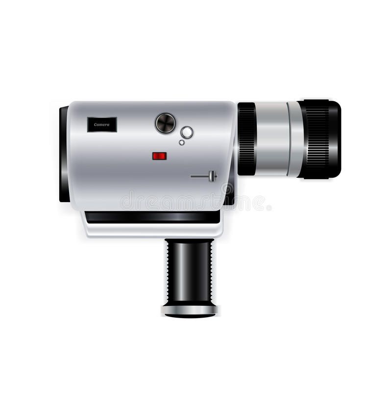 Kamera pisak odizolowywający na bielu ilustracja wektor