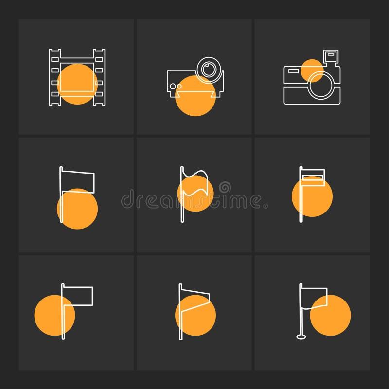 kamera, projektor, flaga, serca, kamera, pupil, flaga royalty ilustracja