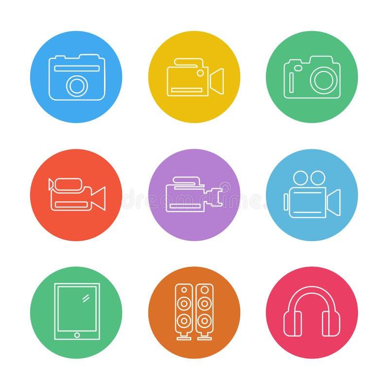Kamera registreringsapparat, tillfångatagande, klick, fotografi, fotografi vektor illustrationer
