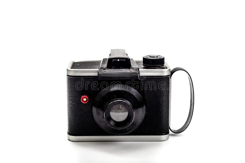 Kamera 1950 rocznik na białym tle fotografia stock